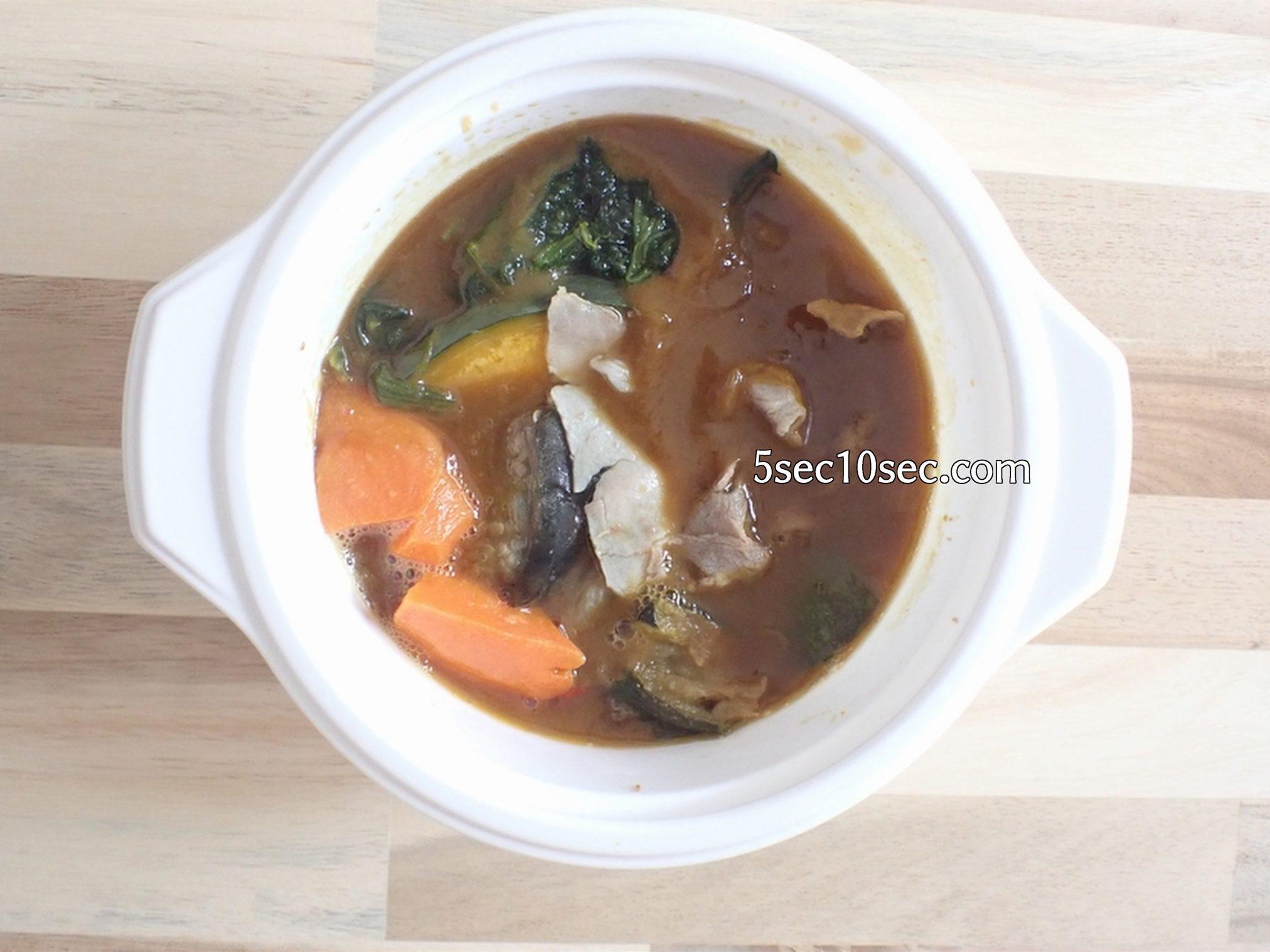 宅配健康食 ウェルネスダイニング ベジ活スープ食 野菜カレー 電子レンジで加熱した解凍後の写真