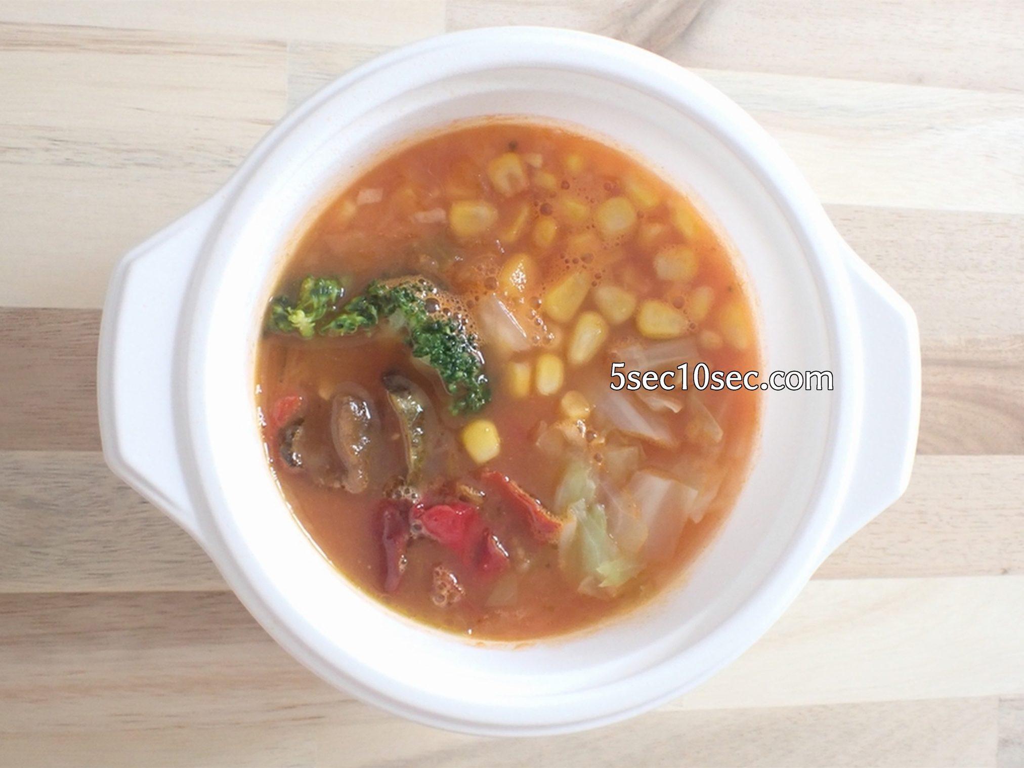 冷凍宅食 ウェルネスダイニング ベジ活スープ食 ミネストローネ 電子レンジで解凍後の写真