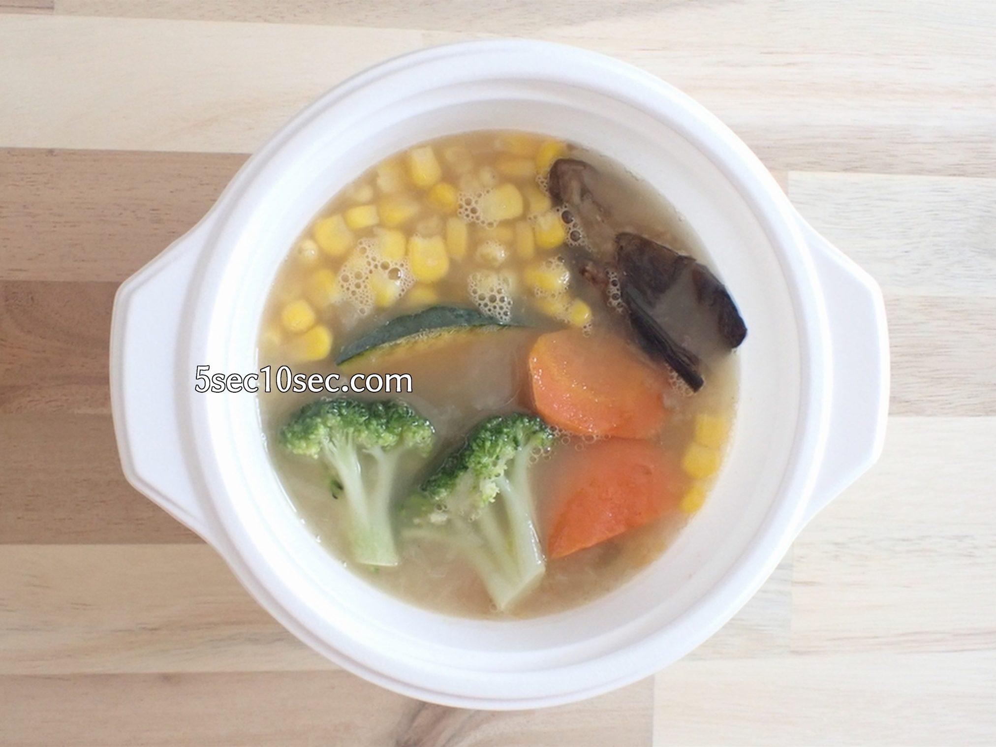 宅配弁当 ウェルネスダイニング ベジ活スープ食 ミックス野菜 電子レンジで解凍後の写真