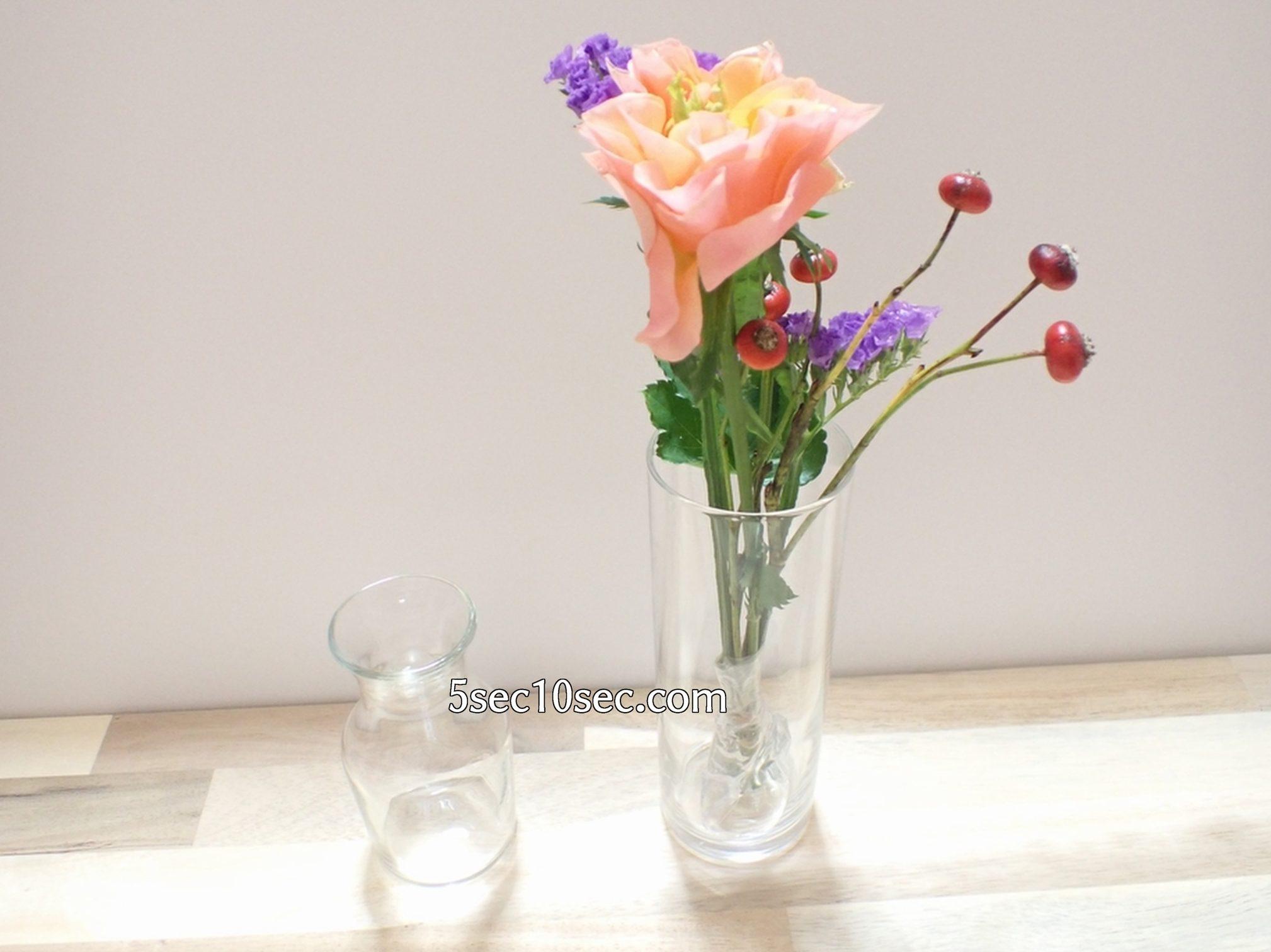 株式会社Crunch Style お花の定期便 Bloomee LIFE ブルーミーライフ 500円(税別・送料別)の体験プラン シリンダーにお花を生けた写真
