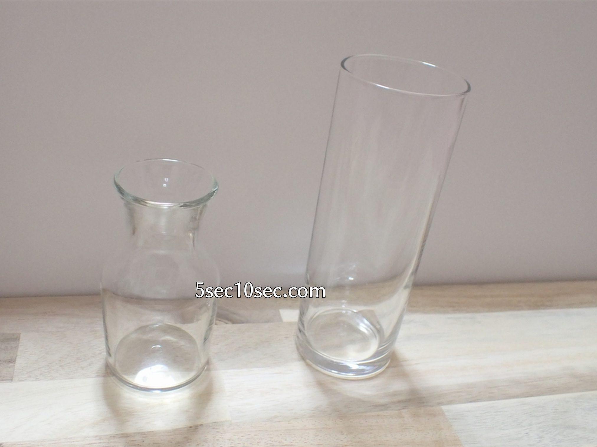 株式会社Crunch Style お花の定期便 Bloomee LIFE ブルーミーライフ 500円(税別・送料別)の体験プランを楽しむために花瓶として100均、100円均一(税込110円)で買ってきたグラス