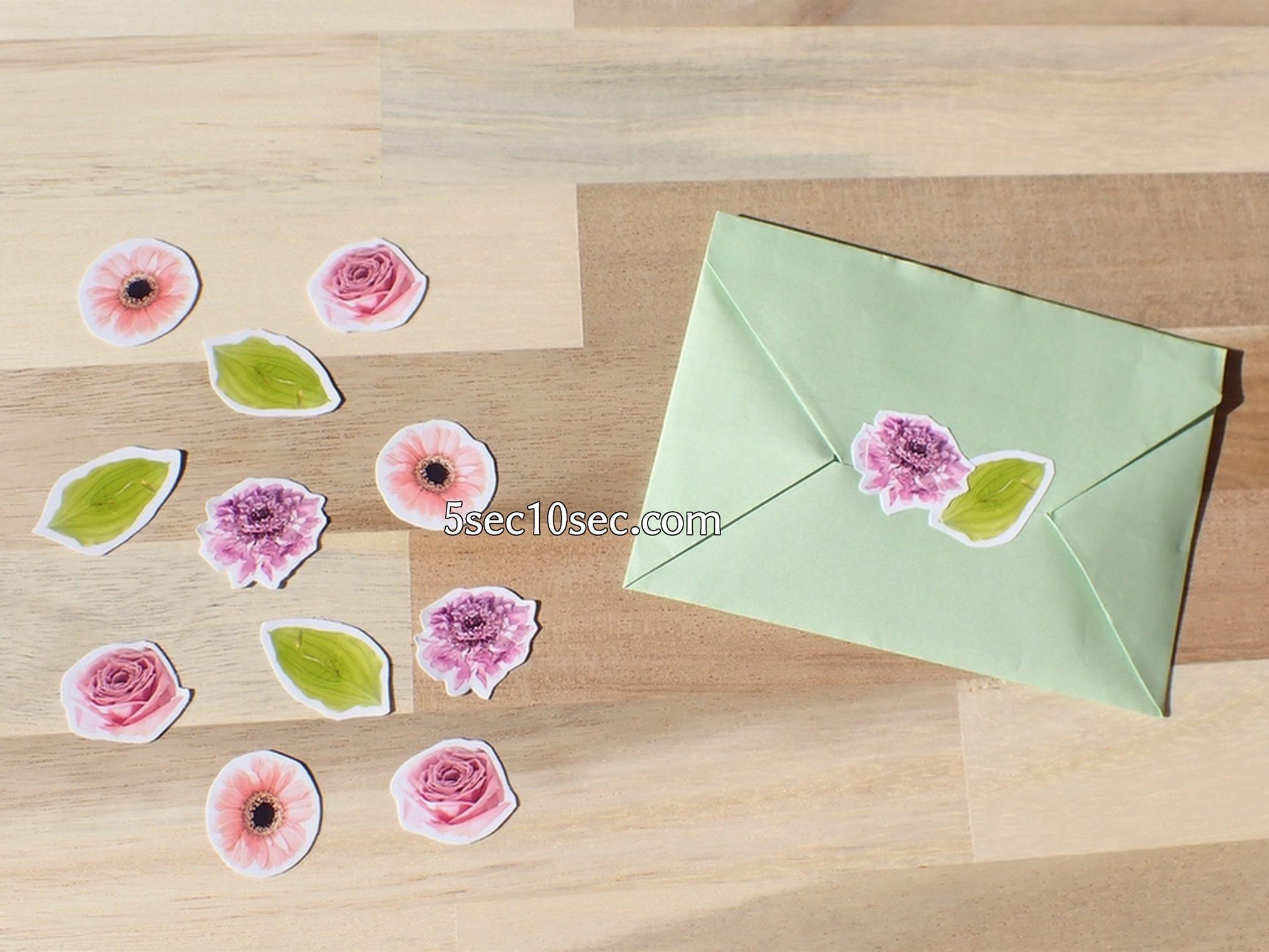 株式会社Crunch Style お花の定期便 Bloomee LIFE ブルーミーライフ レギュラープラン 切り花、生花の写真から手作りシールを作りました、自作なので自分で切って使っています