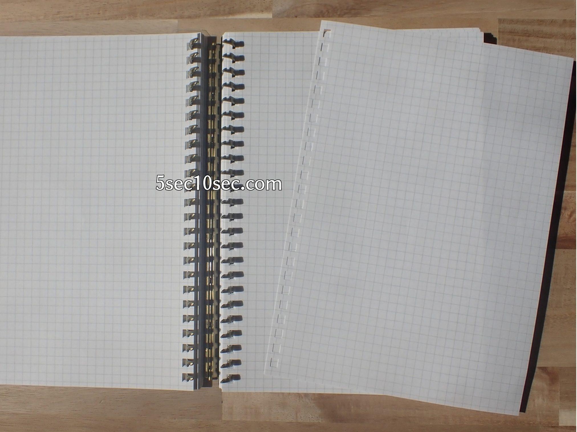 LIHIT LAB. リヒトラブ ツイストリング・ノート 専用リーフ・A5方眼 24穴 N-1650S カスタマイズツイストノートは大容量のページ数で、ページを抜き差し出来るルーズリーフのノートです