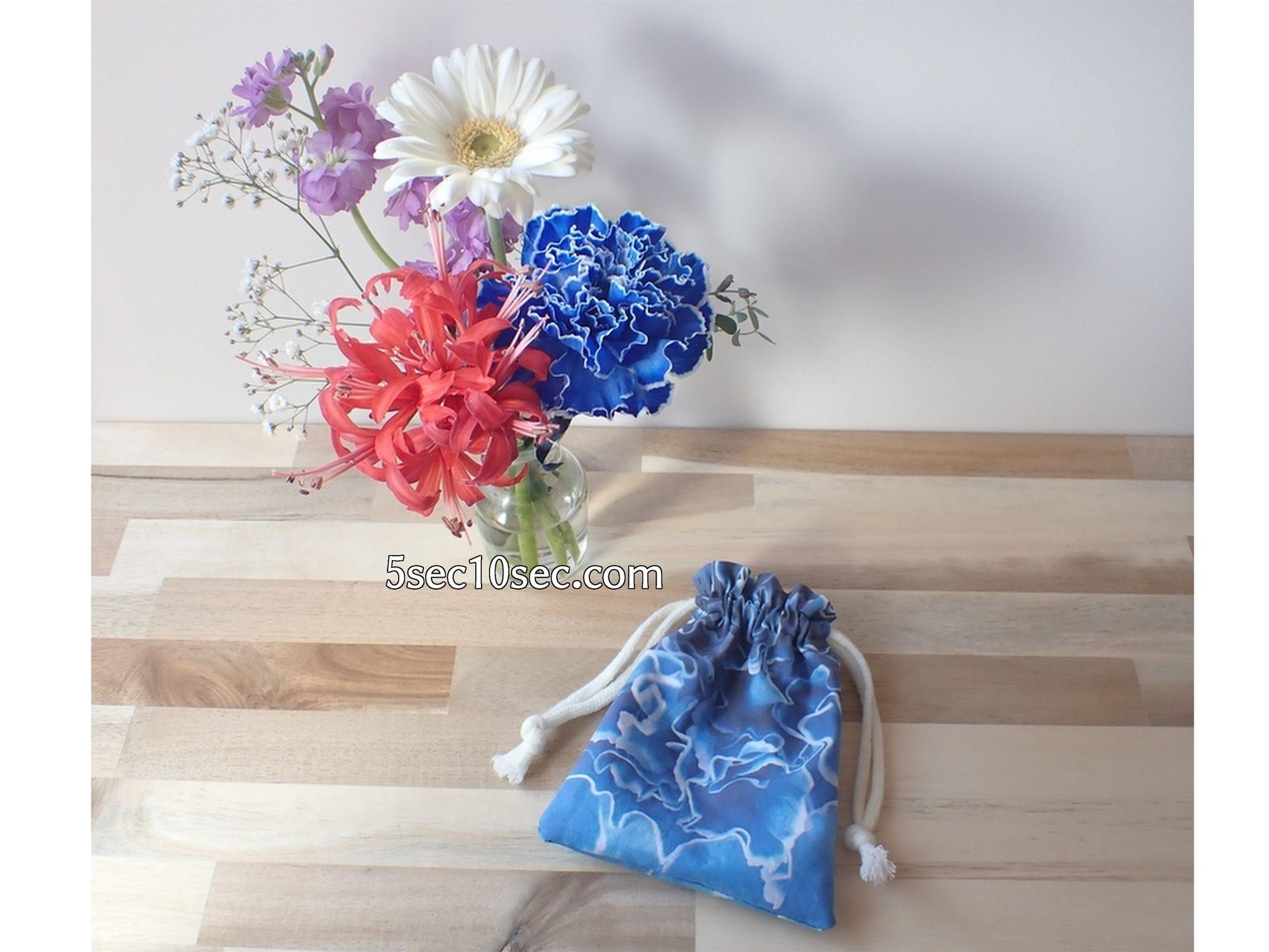 株式会社Crunch Style お花の定期便 Bloomee LIFE ブルーミーライフ 染めカーネーション(青)を柄物の素材にして布プリで巾着袋を手作りしてみた