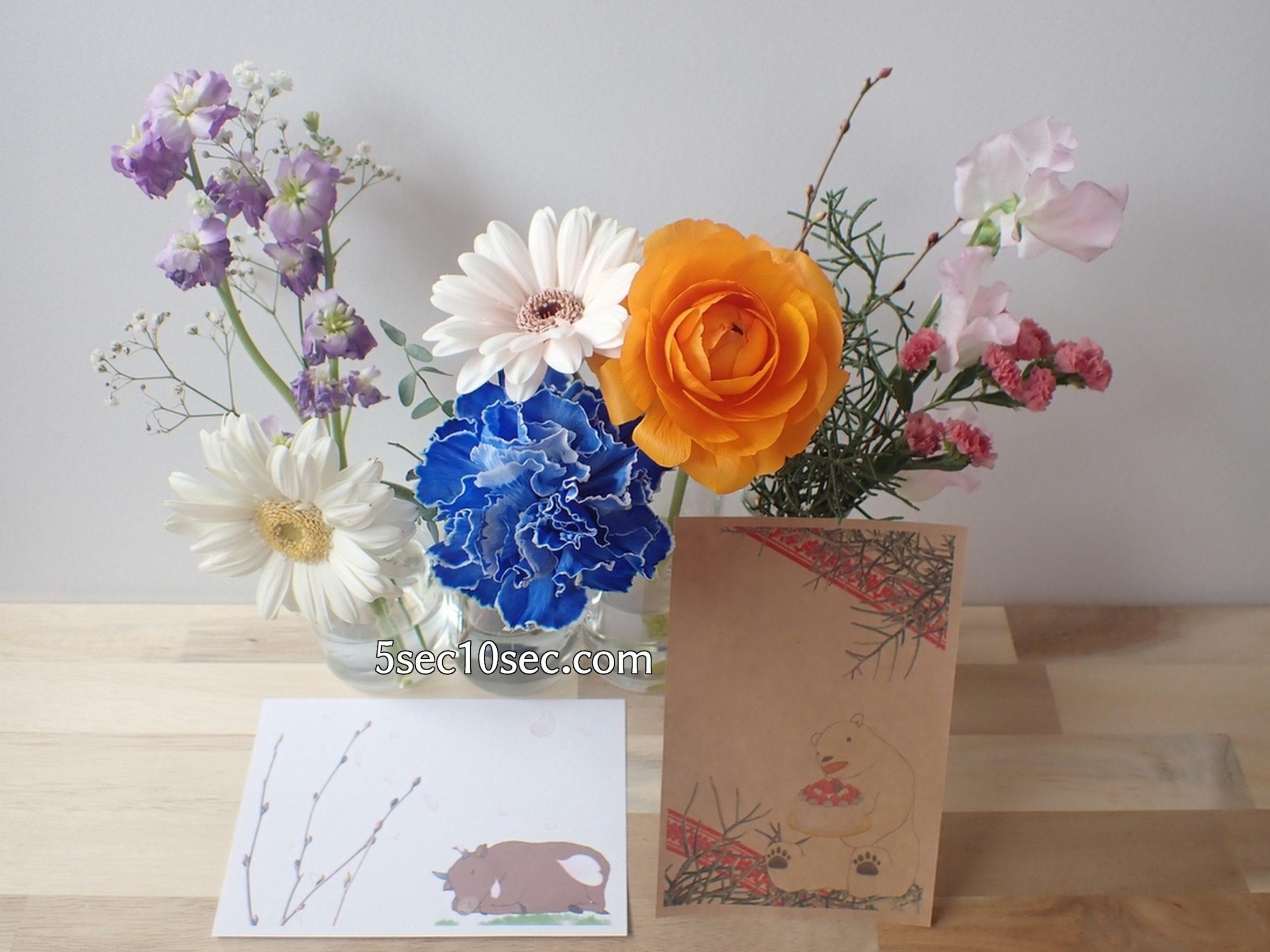 株式会社Crunch Style お花の定期便 Bloomee LIFE ブルーミーライフ レギュラープラン 前回のお花と今回のお花を小瓶を並べて飾る、クリスマスカードと年賀状