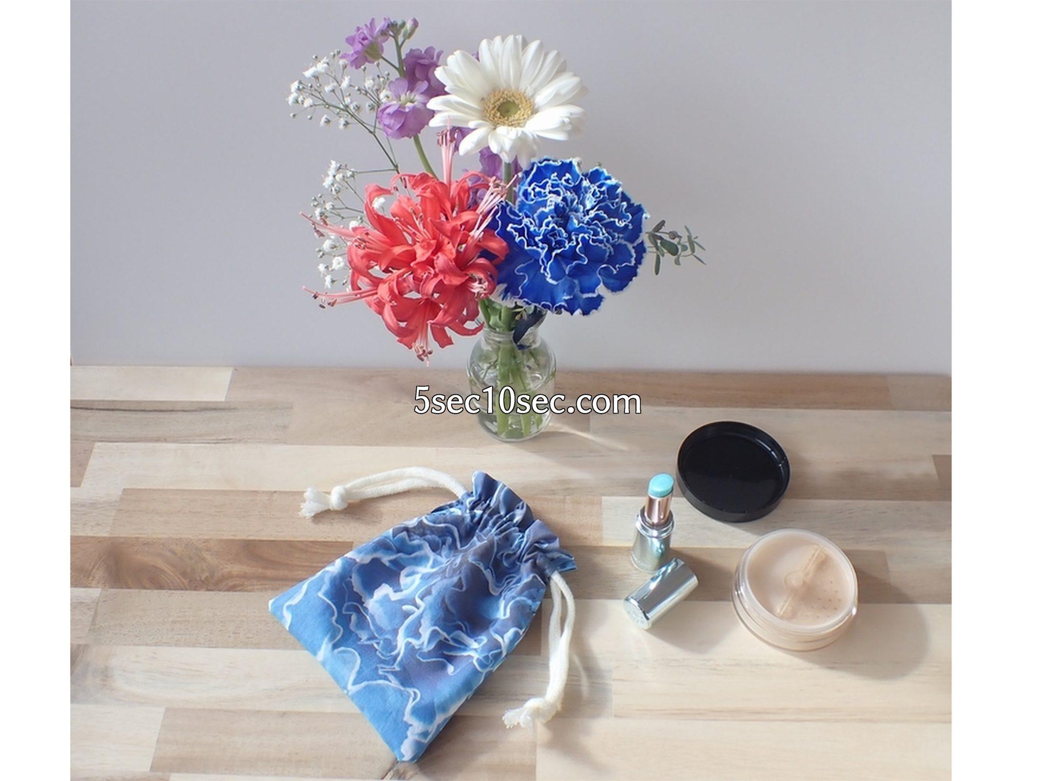 株式会社Crunch Style お花の定期便 Bloomee LIFE ブルーミーライフのお花の写真を使って布プリで作った巾着の用途は、コスメの収納に、ポーチ代わりに