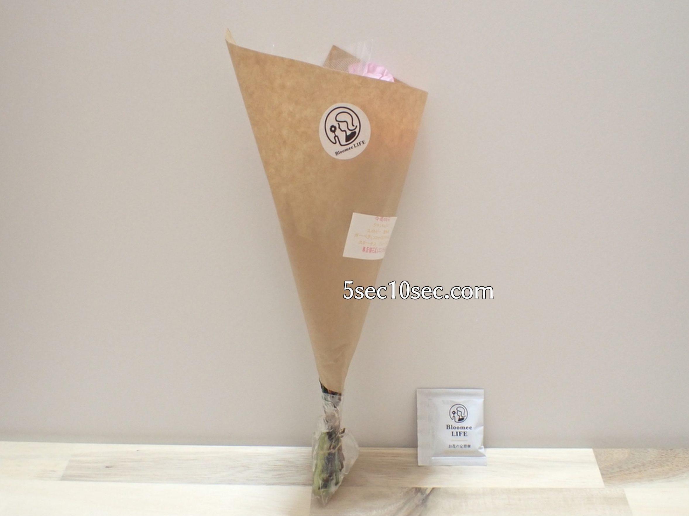 株式会社Crunch Style お花の定期便 Bloomee LIFE ブルーミーライフ レギュラープラン クリスマスパッケージから出した写真、お花の栄養剤つきです