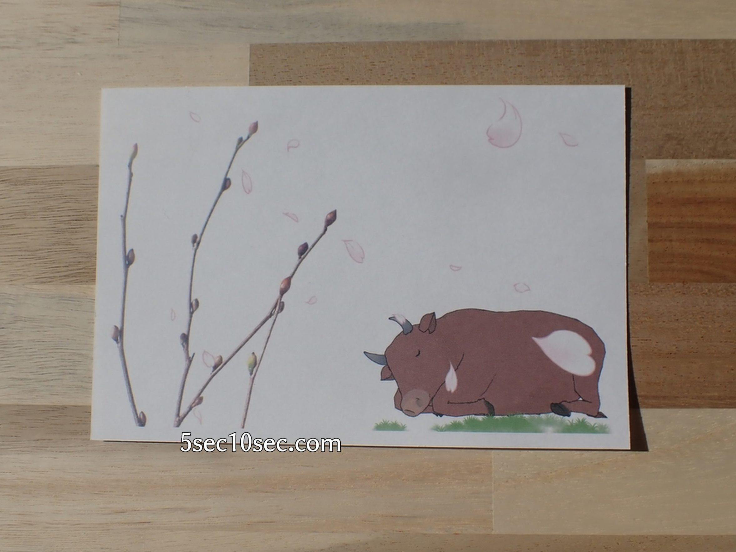 株式会社Crunch Style お花の定期便 Bloomee LIFE ブルーミーライフ レギュラープラン 手作り年賀状、木の部分に姫水木の写真を使用しています