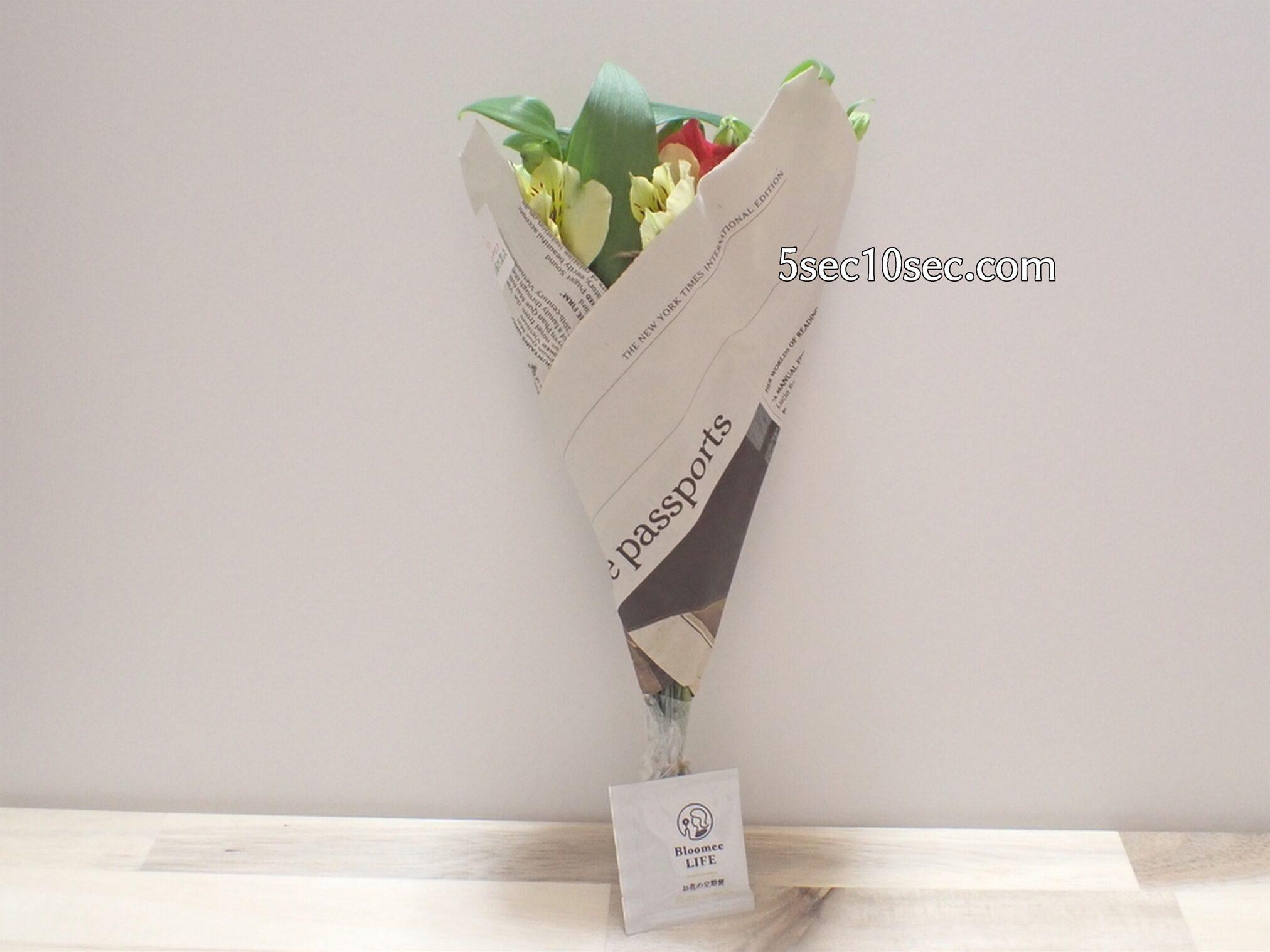 株式会社Crunch Style Bloomee LIFE(ブルーミーライフ)レギュラープラン 今回は英字新聞に包まれ、お洒落な包装で届きました