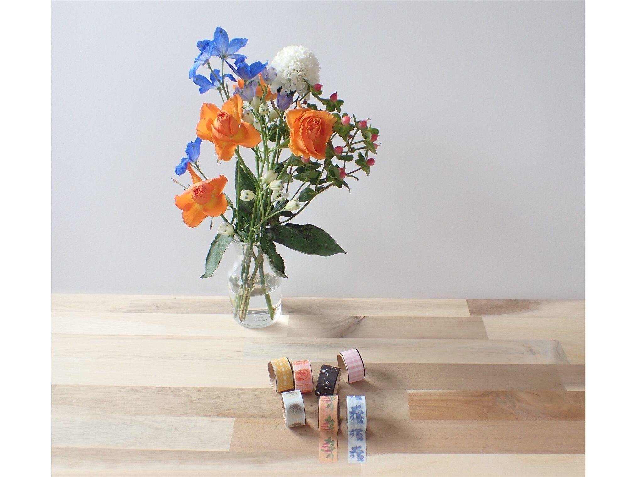 エレコム ELECOM マスキングテープラベル用紙 A4サイズ 3枚入り EDT-MTA4にBloomee LIFE(ブルーミーライフ)レギュラープランのお花の写真を印刷して作った手作りマスキングテープ