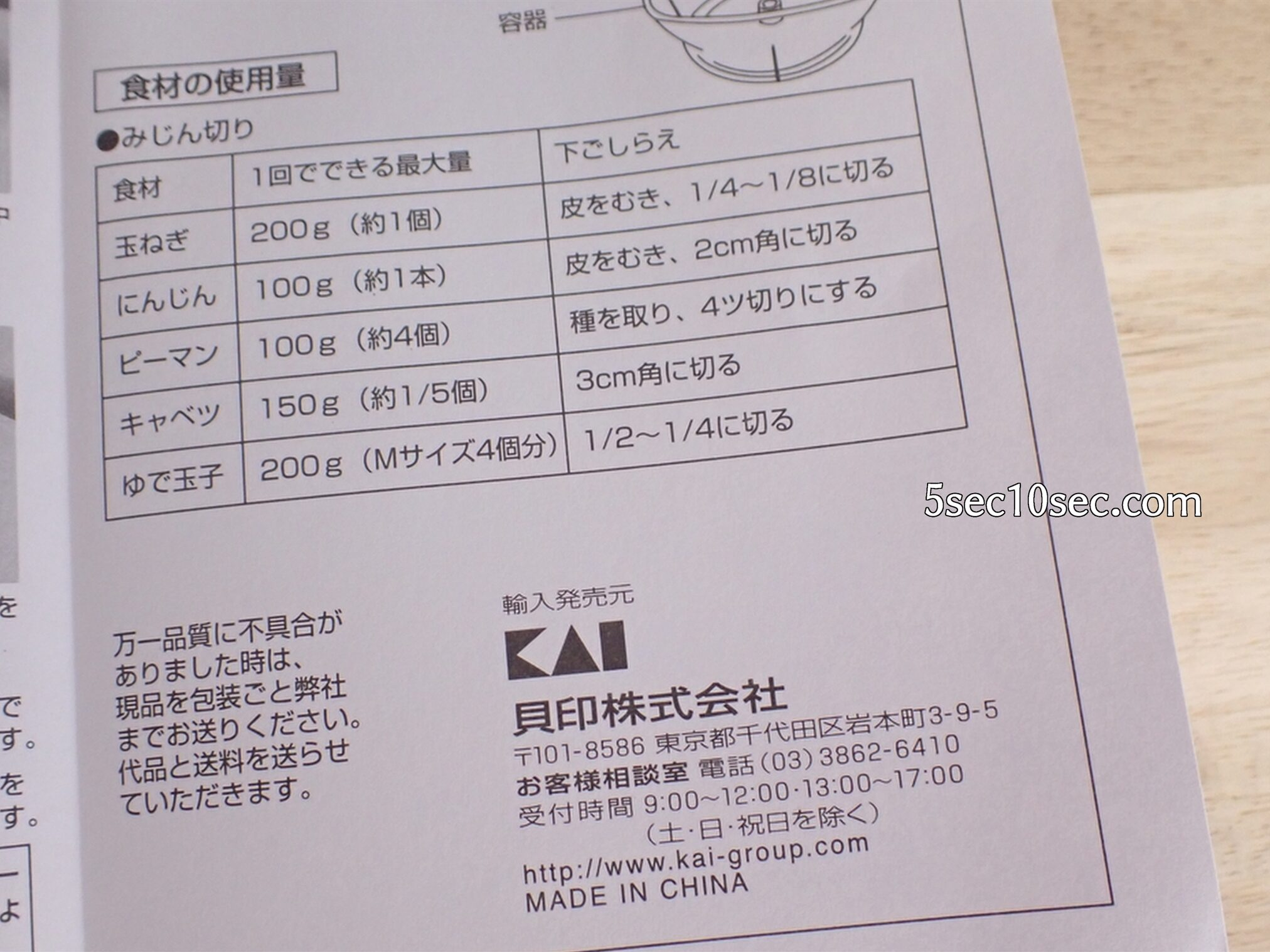 貝印 KHS スピーディーチョッパー L 品番DH2084 入る食材の量、使用量目安